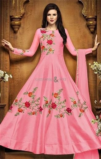 Avail This  Modern Tickle  Pink  Anarkali  Suit with Floral Work for  Reception. This  Floor Length  Dress Has Sheer Neck fbac6a898