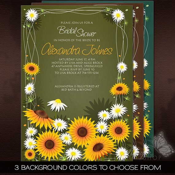 Sunflowers & Daisies Floral Bridal Shower PRINTABLE Invitation by Ruxique #Sunflowers & #Daisies #Floral #Bridal #Shower #PRINTABLE #Invitation
