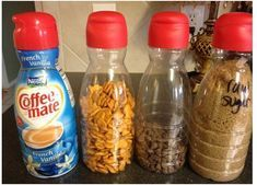 Recycling Coffee Creamer Bottles Use them to carry water and juice in just like any water bottle. And you know how children love to snack on Fruit Loops, Cheerios and Gold Fish