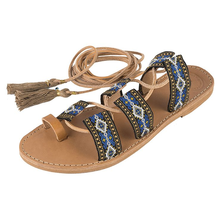 Achilleas Accessories - Products : Collection | SS 2016 / Shoes / Ethnic detailed laced up leather and handmade sandal