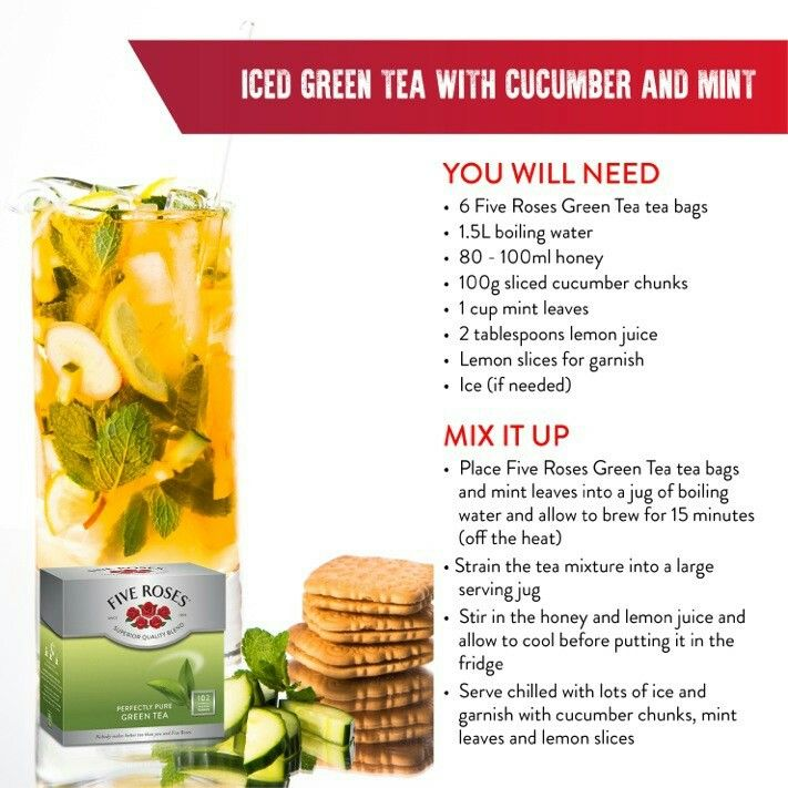 Iced Green tea with cucumber and mint
