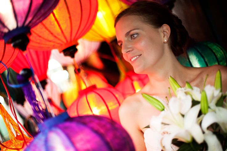 Hoi An is famed for its lantern. Hoi An Events can arrange for your photographer to capture some evening ambiance with the iconic lanterns as a backdrop. #HoiAnEventsWeddings #HoiAn #VietnamBeachWeddings