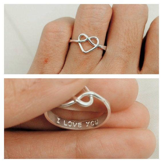 Nudo promesa anillo anillo de la promesa de oro rosa por JewelryRB