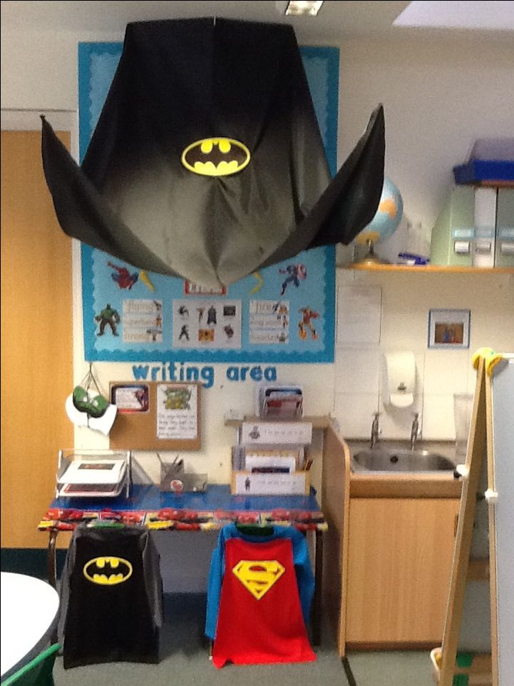 Superhero capes on back of chair ( Great Idea for the first row of seating for…
