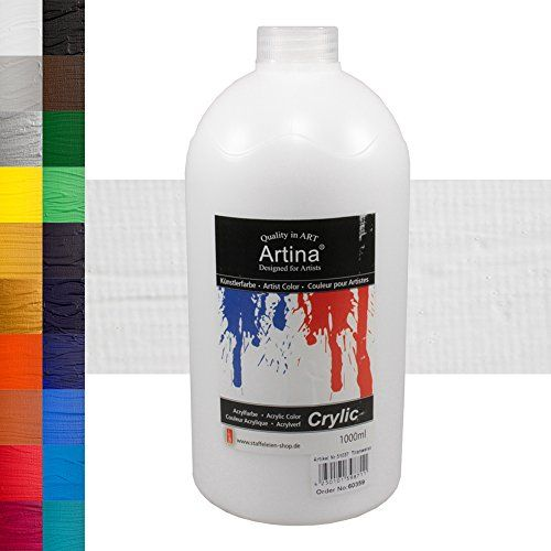 From 13.99 Artina Crylic Titanium White Acrylic Paint 1000 Ml High Quality Colourful Water Based Artist Acrylic Paint Bottle