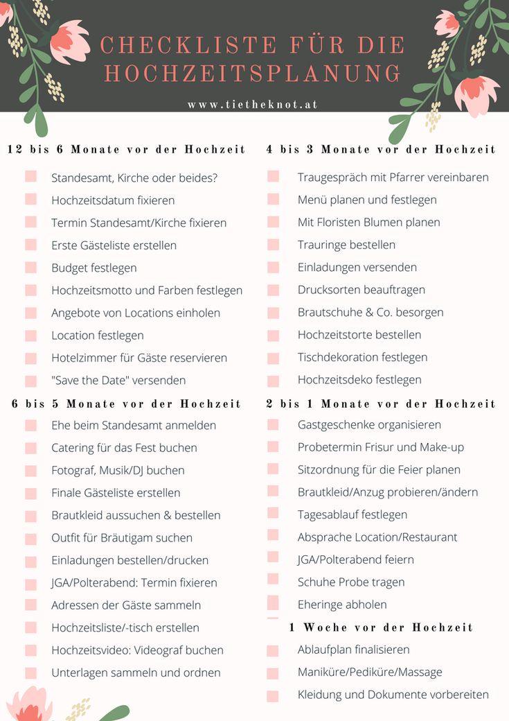 Checkliste für die Hochzeit: Checkliste als Download zum Ausdrucken