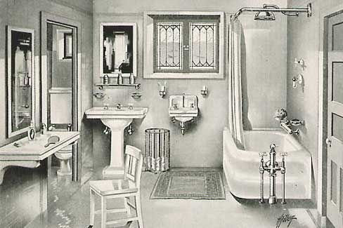 "Historical Bathroom Photos « 1912 Bungalow. I didn't realize that the modern ""skirted"" tubs were around in this timeframe. Mostly you see clawfoot tubs."