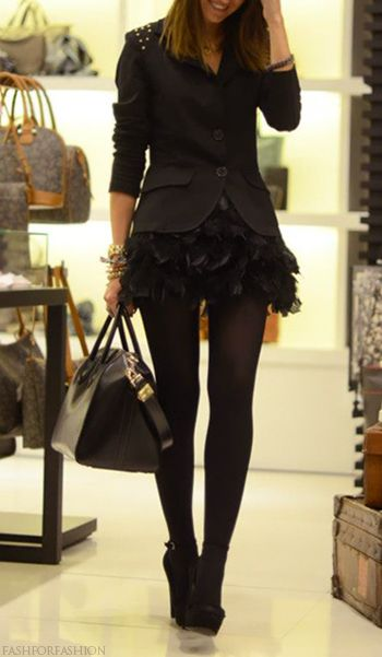 Head to toe black done right and girly!