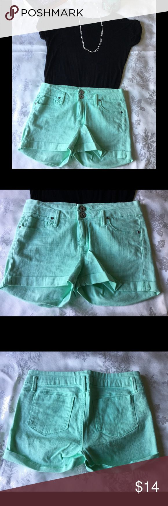 "Mint green shorts Mint green jean shorts, cuffed bottom, double button and zipper close, inseam 2 1/2"". Excellent condition. Candie's Shorts Jean Shorts"