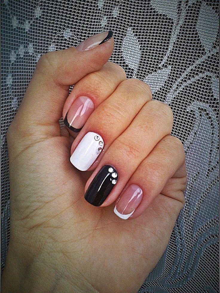 Accurate nails, Beautiful nails 2016, Black and white French manicure, Black and white nail ideas, Black dress nails, Contrast nails, December nails, Fall nails 2016