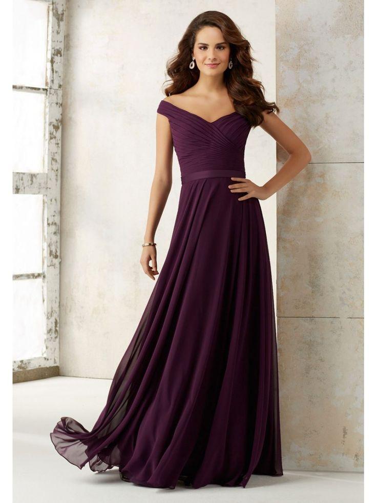 A-Line Off-the-Shoulder Grape Purple Chiffon Long Bridesmaid Dresses 5602016
