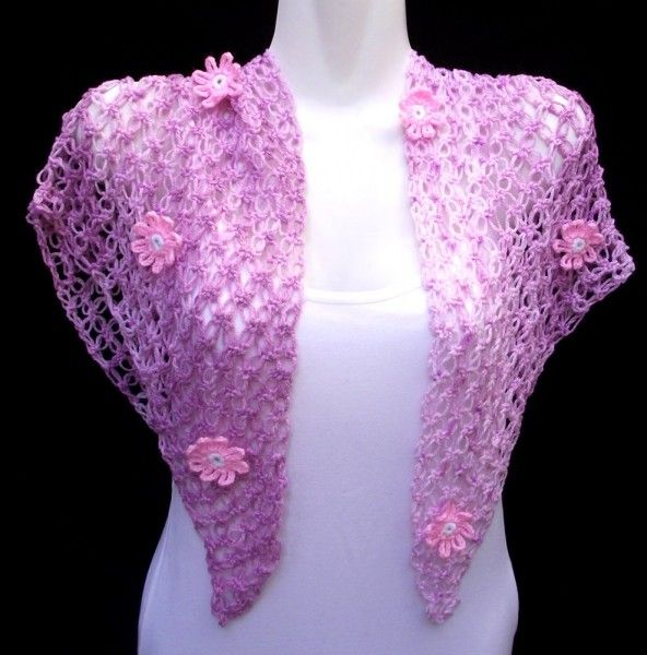 Pink/Purple Shawl with flowers