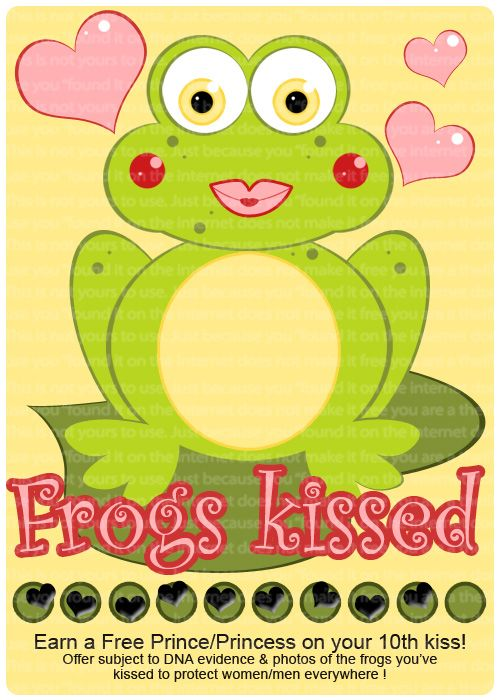 Example high detail frog kisses punch card 4 to choose from