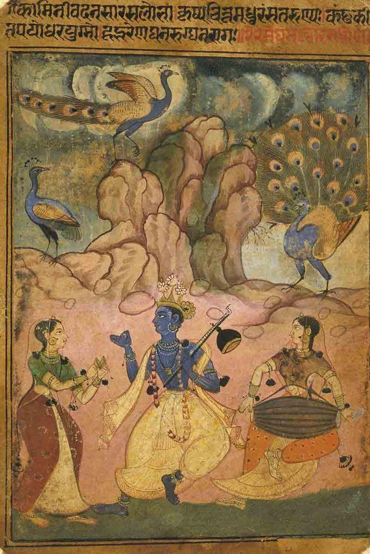 Meghamalhara Ragini depicts Krishna dancing in the rain. [Meghamalhara Ragini]. Opaque watercolor on paper, ca. 1605 -1610,  Varanasi (Banares), Banaras Hindu University, Bharat Kala Bhavan