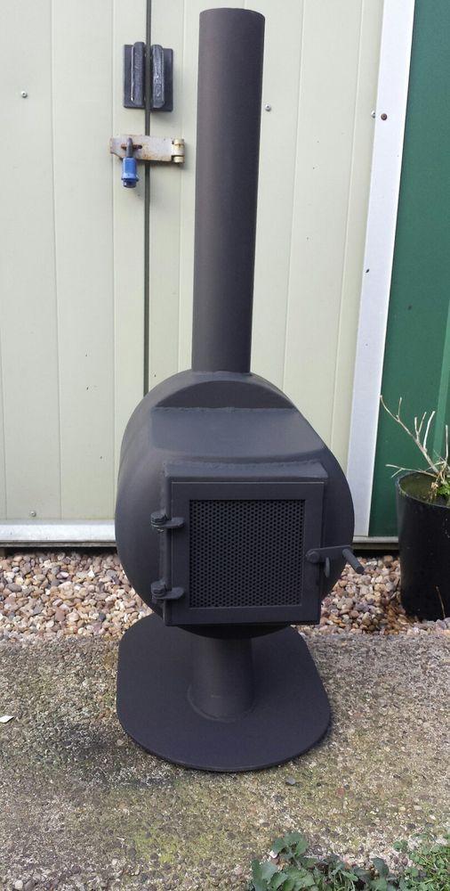Gas bottle wood burner chimenea in Garden & Patio, Barbecuing & Outdoor Heating, Patio Heaters | eBay