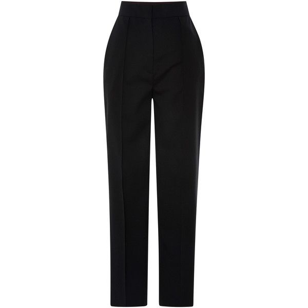 Vika Gazinskaya Black Cropped Pant ($1,015) ❤ liked on Polyvore featuring pants, capris, high waisted trousers, black trousers, high rise pants, cropped trousers and black wool pants