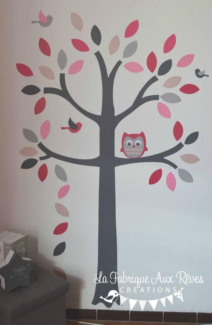 Stickers arbre gris rose poudr rose fuchsia fraise for Decoration maison rose poudre