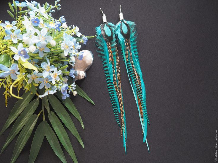 Ультра - бирюзовые серьги с перьями в стиле бохо - перья, перо, серьги с перьями