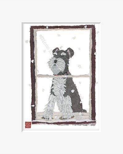 """Schnauzer Art Matted Print for 8 x 10 Inches Frame A Schnauzer Gifts by Bless Hue Artist Keiko Suzuki Seattle Artist. Digital print of the original hand-torn newspaper collage art """"Schnauzer At Window"""". Copyright © 2014 by Keiko Suzuki. This is created especially for you, a schnauzer lover. I thought the look of the pooch looking out the window with thoughtful eyes would bring you a smile, like it did to me. The picture is matted to 8"""" x 10"""" for easy framing. Free Shipping within USA...."""