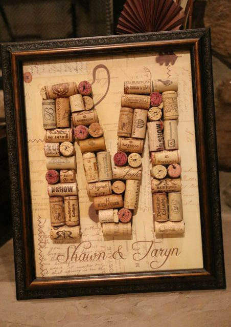 What a unique wedding gift!! Wine Cork Letter with Custom Name by UniquePhotique on Etsy, $38.00