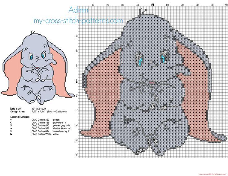 Disney baby Dumbo the flying elephant free small cross stitch pattern