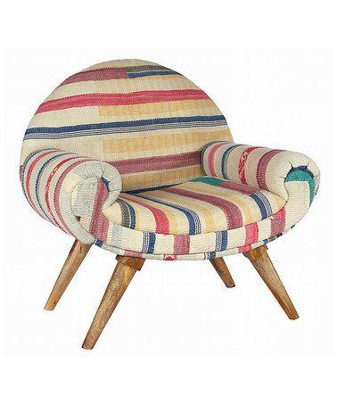 Look what I found on #zulily! Off-White Stripe Modern Traveler Chair #zulilyfinds