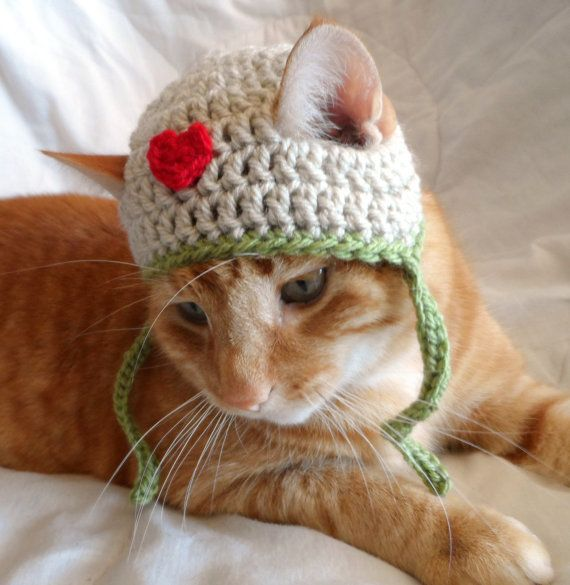 Hats for Cats, Crochet Cat Hat, Pet Cat Love Hat, everyday Cat Hat, Valentines Day Hat for Cats.