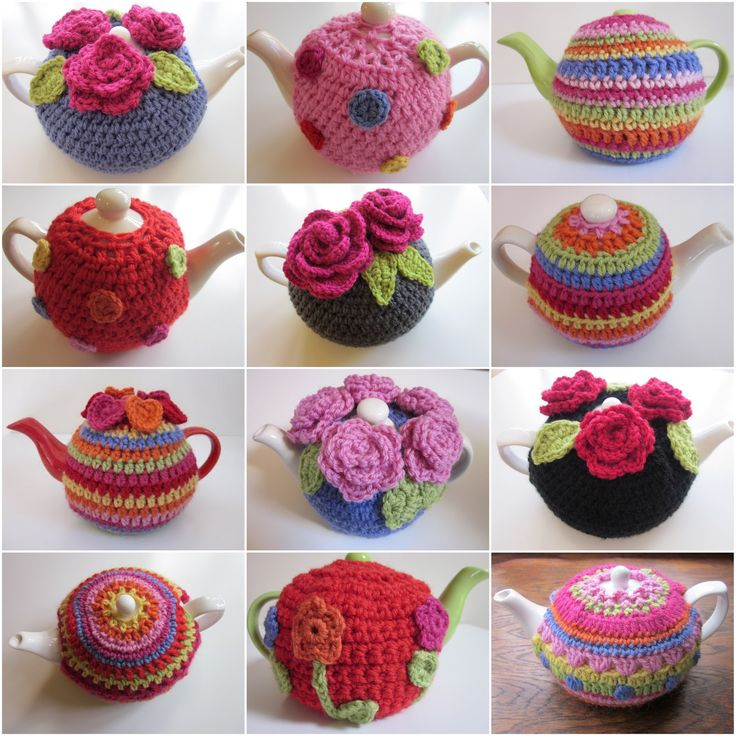 Awesome crochet Tea Cosy tutorial With dots, flowers or stripey. Lots of pictures. Many ideas.