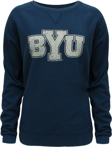 Champion Juniors Fitted Navy BYU Crew Neck Sweatshirt.. Need a new cougar sweatshirt!