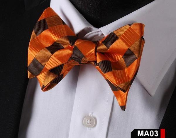 MA03 ORANGE, BROWN100%Silk Striped Bow Ties Men SELF Tie Classic Wedding Butterf