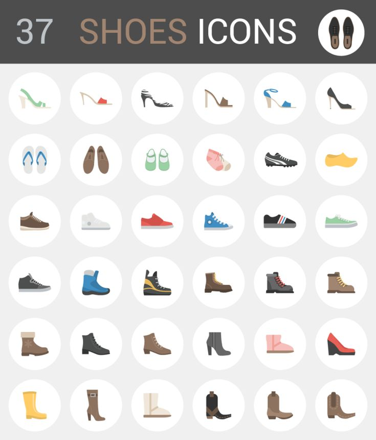 37 Shoe Icons - This exclusive freebie set includes 37 different shoe icons like slippers, boots, high-tops, flip-flops, sandals, slingbacks, trainers and more. File package includes AI, EPS, PNG and SVG.