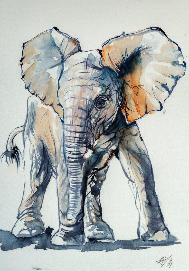 Elelphant baby by kovacsannabrigitta on DeviantArt   WATERCOLOR