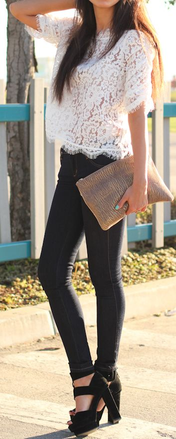 Love the top with jeans. Dislike the clutch and sandals. I love comfort so I would wear cute sandals with rhinestones and a shoulder bag.