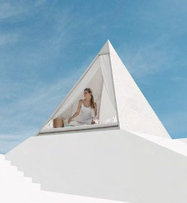 The Pyramid day bed invites a sense of privacy while being big enough to seat an entire family. The day beds unique Egyptian look provides a dream like image that goes perfectly with a glass of something cold and a hot summers day.