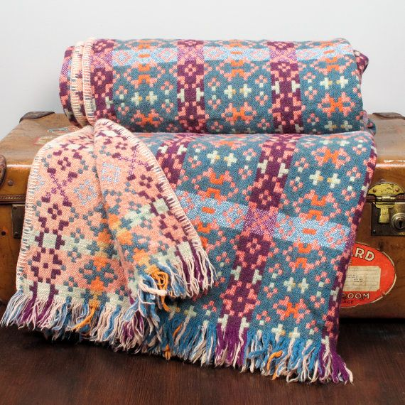 Large Vintage Original Welsh Blanket Throw in blues and oranges. £148.00, via Etsy.