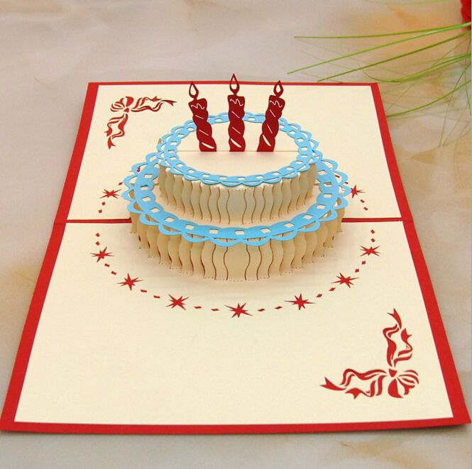 Happy Birthday Cake 3d Popup Greeting Card 10 Pcs Lot Pop Up Cards Greeting Cards Handmade Birthday Pop Up Card Templates
