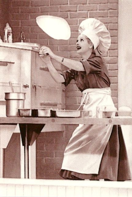 Lucy tries her hand at making pizza dough... .LOVE the chocolate factory were she is shoving them down her blouse.