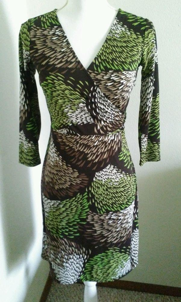 Ann taylor LOFT dress petite 00P brown multi color print long sleeves stylish  #AnnTaylorLOFT #TeaDress #career