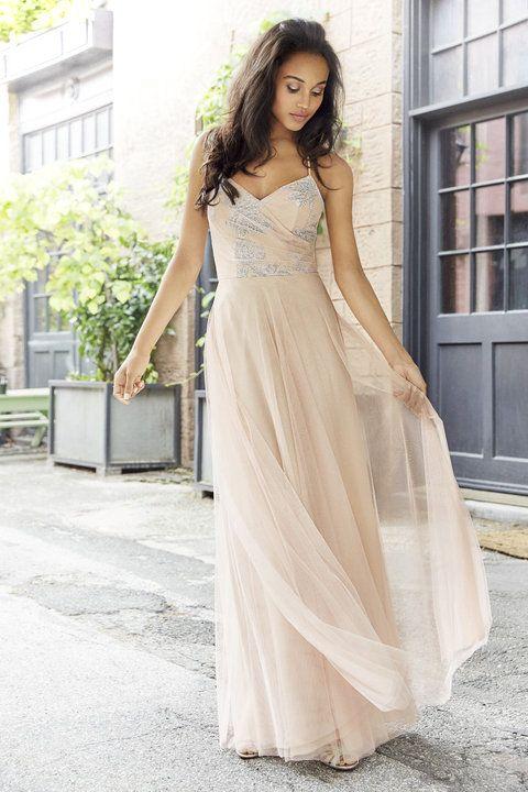 Style 5764 | Almond English Net A-line bridesmaid gown, Almond caviar draped bodice, natural waist, gathered skirt.
