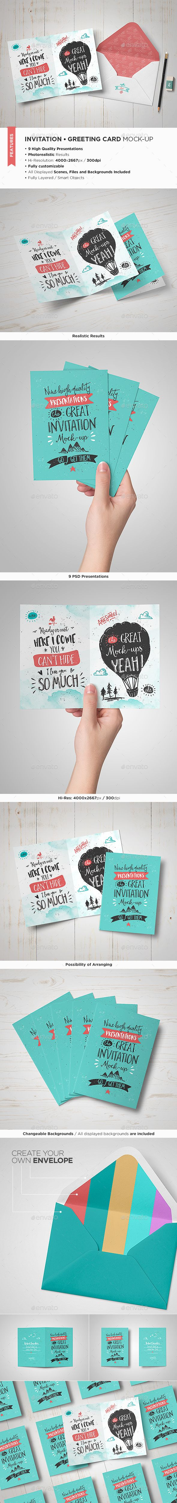 Invitation / Greeting Card Mock-Up #design Download: http://graphicriver.net/item/invitation-greeting-card-mockup/13067421?ref=ksioks