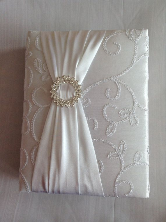 White Taffeta Wedding Photo Album with by PhotoAlbumsbyNancy