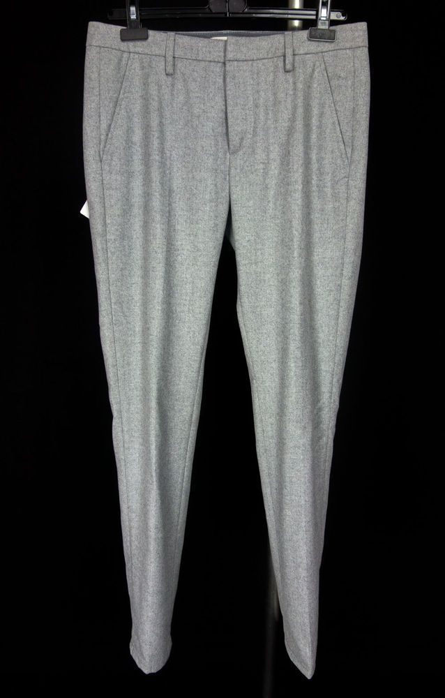 DONDUP Mens New Gaubert Pants Size 33 X 32 M Gray Brushed Extra Fine Merino Wool #Dondup #DressFlatFront