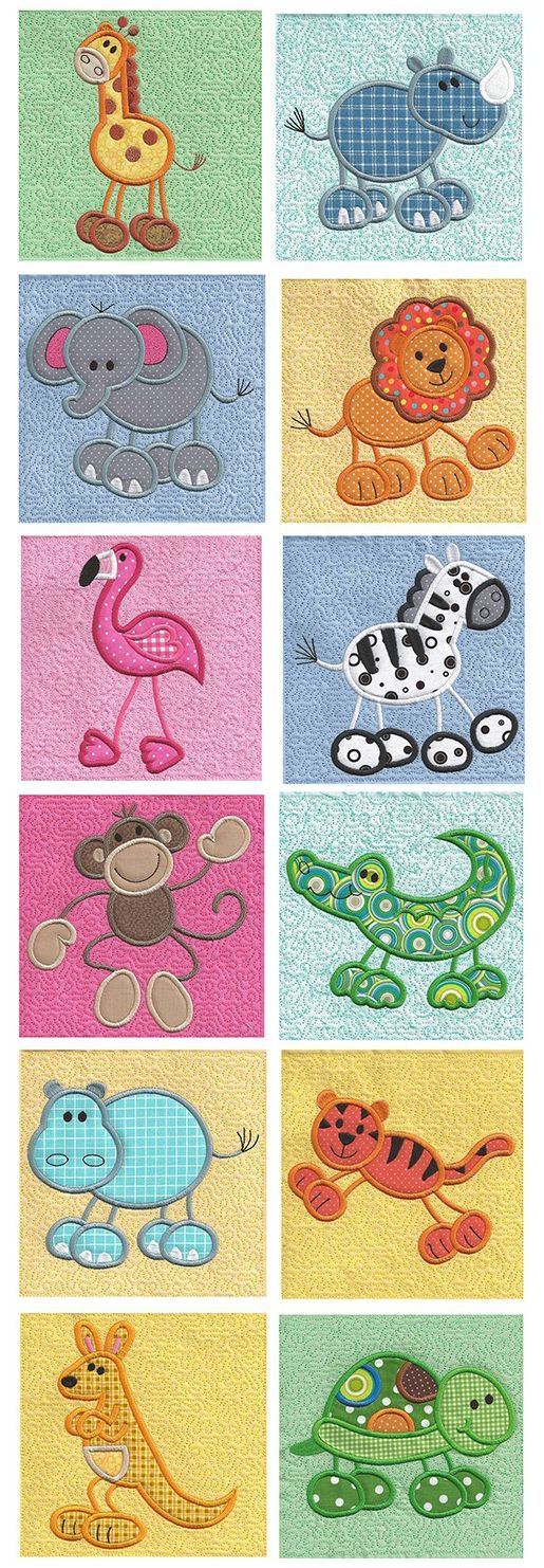 Stick Zoo Applique design set available for instant download at www.designsbyjuju.com