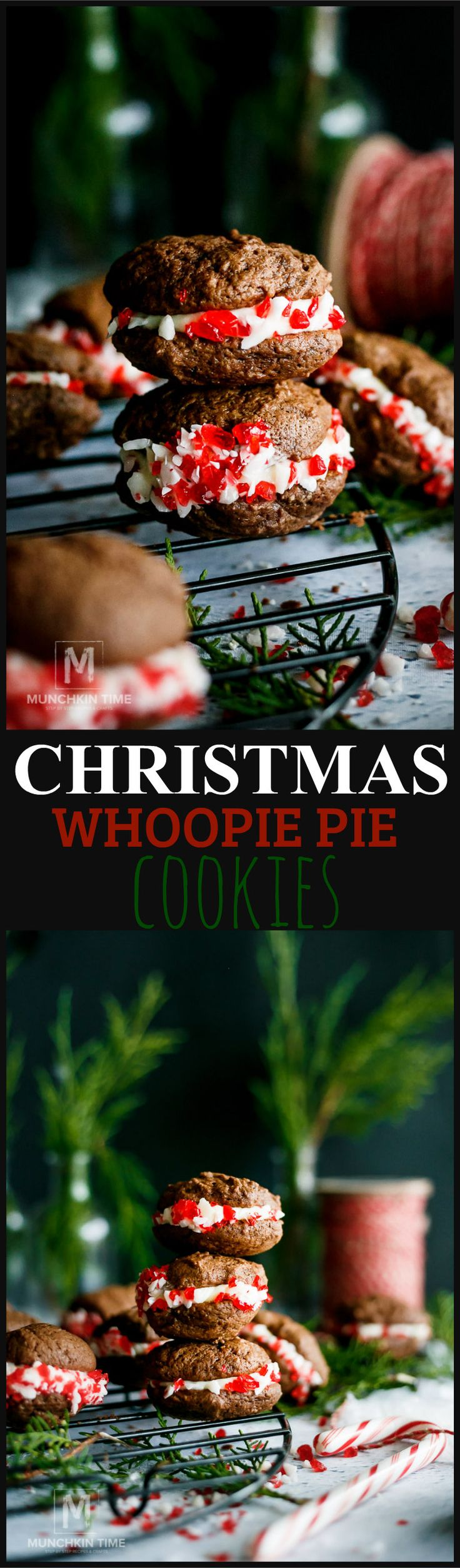 CHRISTMAS Cookies WHOOPIE PIE Cookie Recipe - YOUR friends & family won't be able to resist these soft & sweet Christmas cookies They are made of 2 soft & fluffy chocolate cookies, filled with cream cheese filling and dipped in candy canes pieces. They are so scrumptious!!!