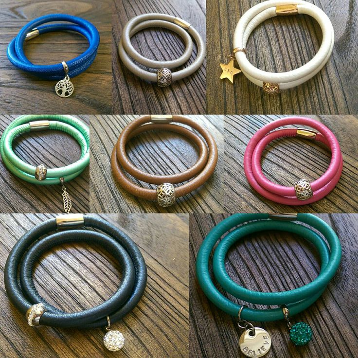 Double Wrap Leather Bracelet with Stainless Steel Charm Last One in each colour by JASDesignsJewellery on Etsy