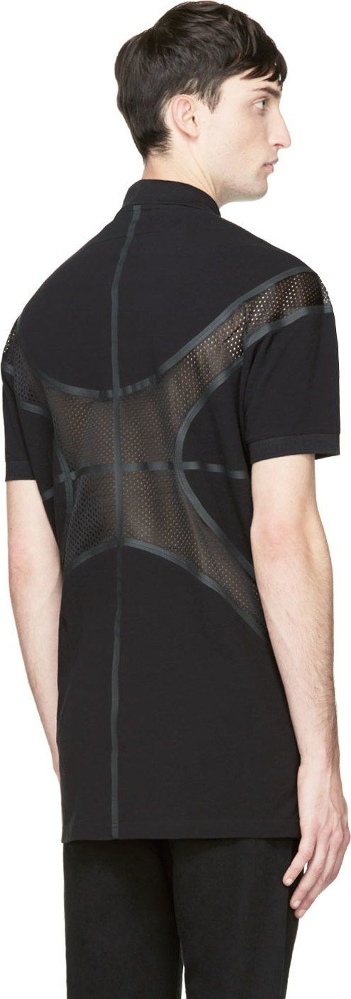 Givenchy: Black Basketball Mesh Panel Polo Shirt | SSENSE