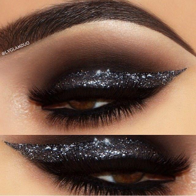Smoky Black Glitter Eye Makeup Idea #michaelthesalon