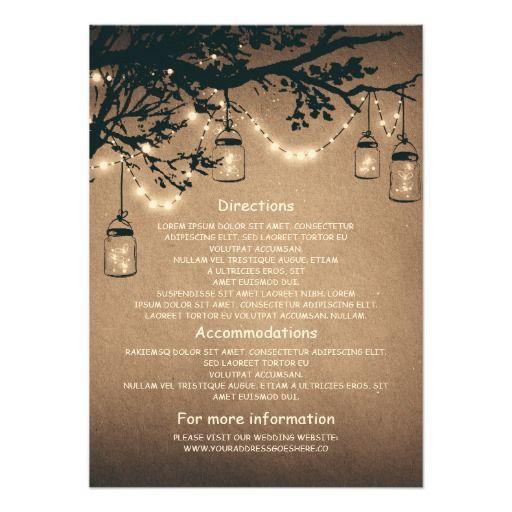 Mason Jars And Fireflies Wedding Information Cards