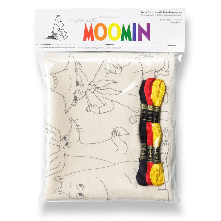 Do it yourself-kit to create your own Moomin character, felt cushion embroidery. Includes instructions. Easy and fun, featuring lovely Moomin characters! Pillow case: 40 x 40 cm.