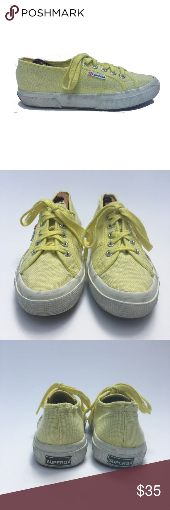 Superga Classic Sunny Yellow Sneakers Shoes 6.5 Superga Women's Sneakers Yellow Casual Shoes  Classic Lace Up Tennis  Sport: Casual Size: 6.5 US 37 EU   Color: Yellow  Pattern: Solid Upper: Cotton Lining: Canvas Sole: Rubber Country: Vietnam Style #: S000010-V05 Cut #: 18627Z1514 Condition: Pre-Owned Good, has wear, but LOTS of Life! Comes from a pet and smoke free environment!  Please review pictures and contact me if you have any questions. WT: 1.12 SKU: WAS011; PC All measurements are…